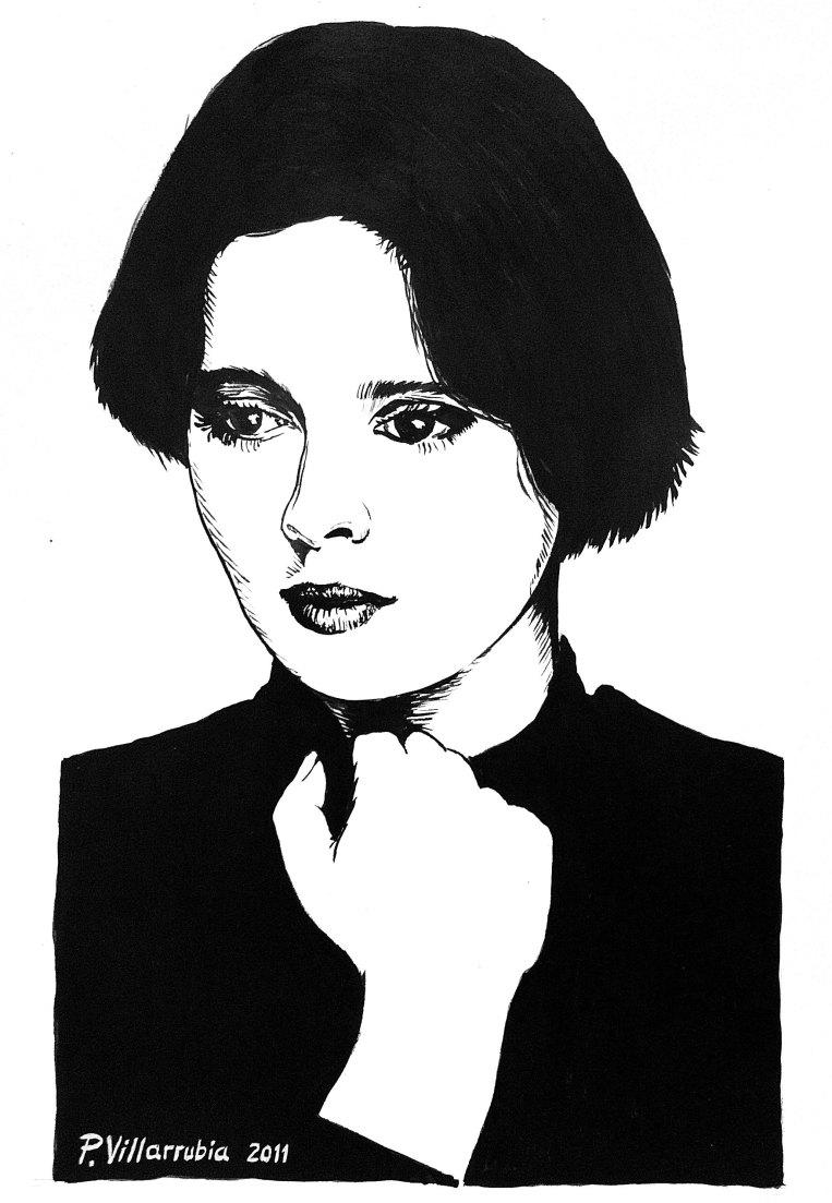 Isabella Rossellini. Dibujo a tinta.