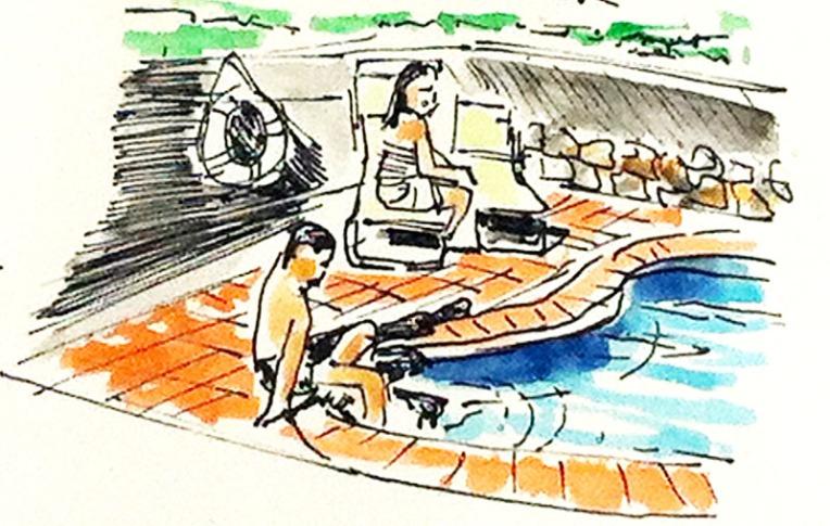 """Mis hijos en la piscina de la casa cueva """"El Caidero""""."""